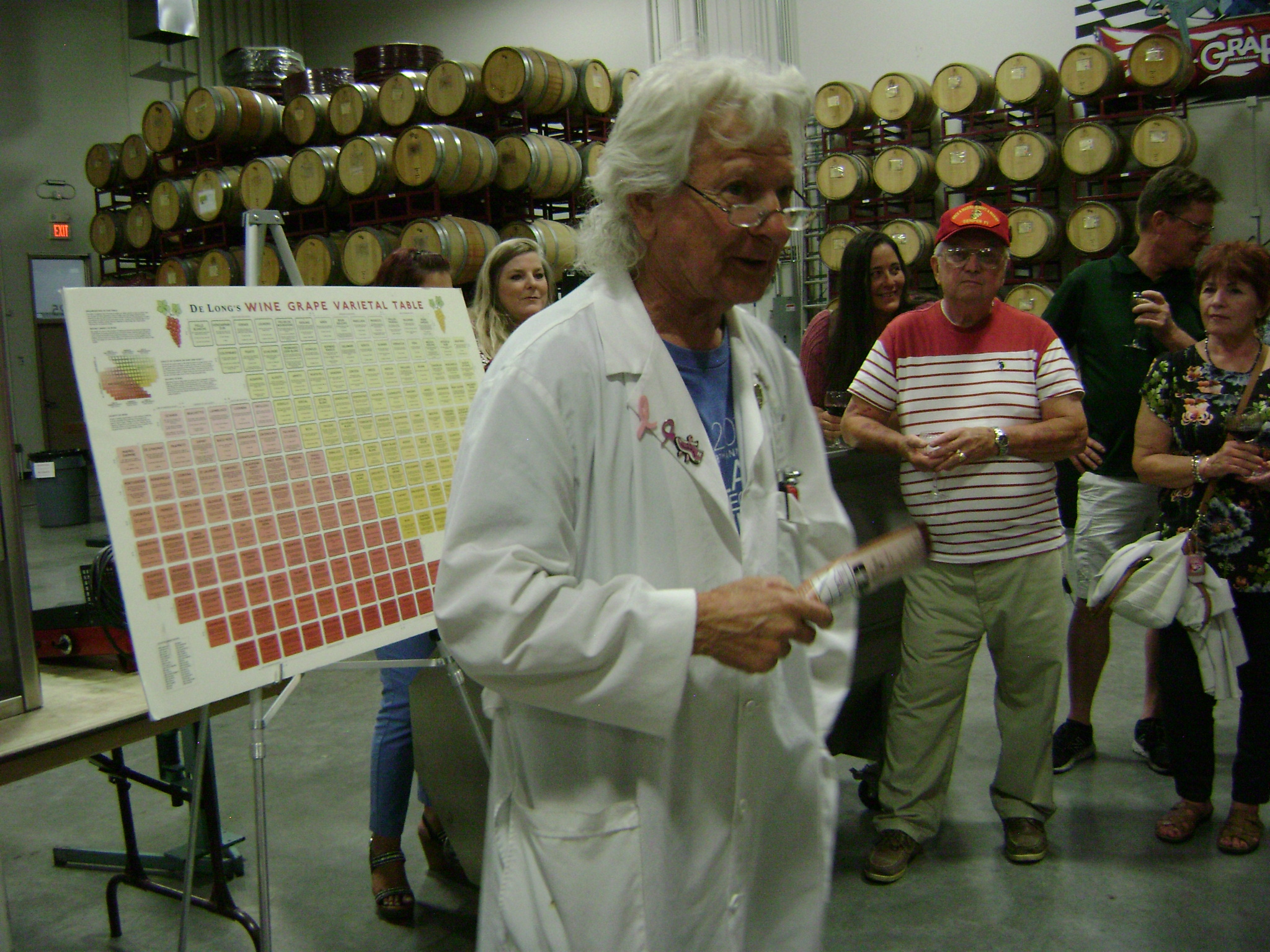 """Professor of Yeastology"" K.J. Howe offers a preview of winemaking classes at Grape Expectations Las Vegas, August 23, 2017. Photo: @GrapeBasinNews"